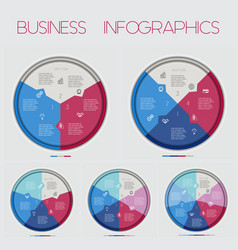 circle numbereds area chart 3 4 5 6 7 options vector image