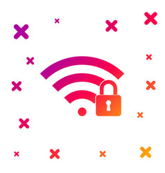 color wifi locked icon isolated on white vector image