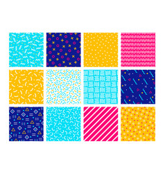 colorful memphis seamless patterns vector image