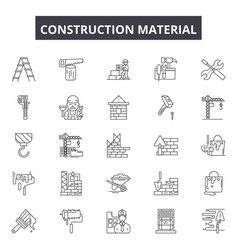 construction material line icons signs vector image