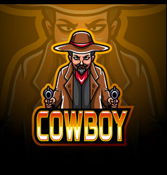 Cowboy esport logo mascot design vector