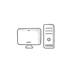 CPU and monitor sketch icon vector image