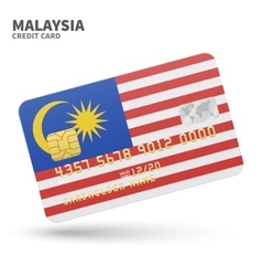 Credit card with Malaysia flag background for bank vector