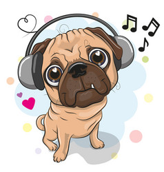 cute cartoon pug dog with headphones vector image