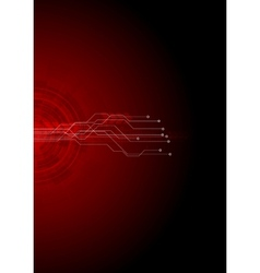 Dark red hi-tech circuit board background vector image