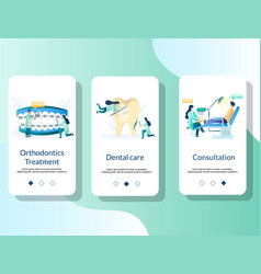 dentist mobile app onboarding screens vector image