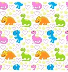 Dinosaur bright seamless pattern vector image