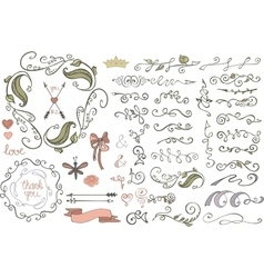 Doodles borderbrushesdecorColored Floral vector