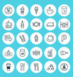 Eating icons set collection of cutlery doorway vector