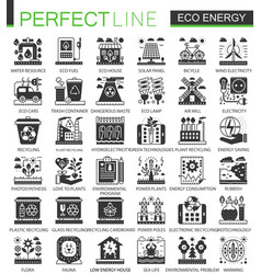 eco green energy black mini concept icons vector image