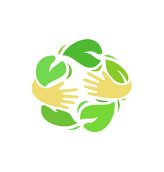 ecology logo of human hands vector image