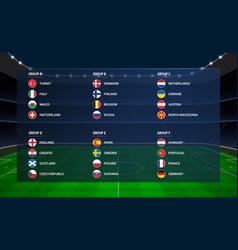 european football tournament all group 2020 euro vector image
