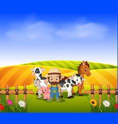 farmer and animal farm with scenery field vector image