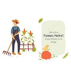 farmers market invitation card with funky farmer vector image