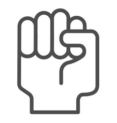 fist up line icon raised fist vector image