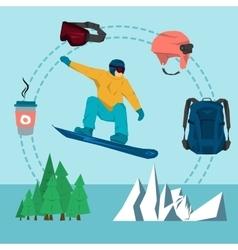 flat set snowboarding sport vector image