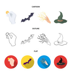 focus with a coin a bat a mage hat a lightning vector image