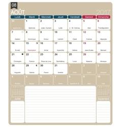 French calendar 2017 vector