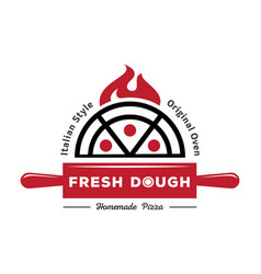 Fresh dough pizza logo with red rolling pin vector