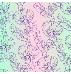 Garden flowers Seamless hand-painted soft gradient vector image
