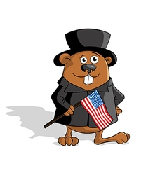Groundhog with usa flag vector image
