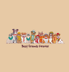 group fashion best friends pets fun animals card vector image