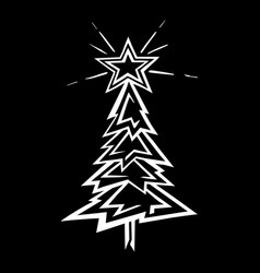 Hand-drawn christmas tree stylized vector