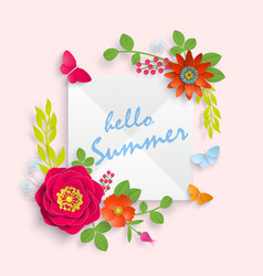 hello summer banner template for advertising vector image