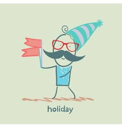 holiday at the person with flags vector image