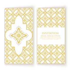 Invitation cards with ethnic damask vector