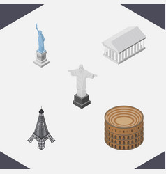 Isometric architecture set of paris new york rio vector