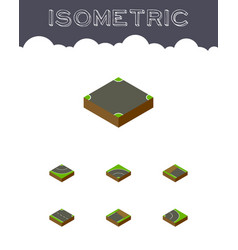 Isometric road set of road unfinished bitumen vector