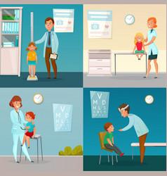 Kids visit doctors cartoon compositions vector