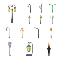 Lamp post cartoon icons in set collection for vector
