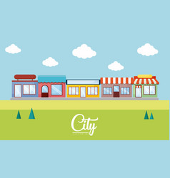 Landscape with stores vector