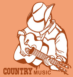 man in american cowboy hat playing acoustic vector image