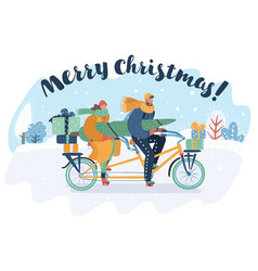 merry christmas card couple riding a tandem bike vector image