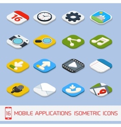 Mobile applications isometric icons vector