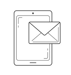 Mobile phone mailing line icon vector