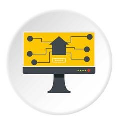 monitor chip icon circle vector image