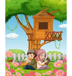 Muslim couple reading books in the park vector image