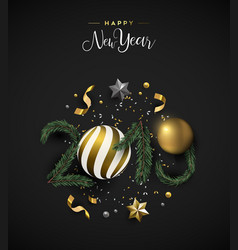 new year 2019 card of holiday decoration elements vector image