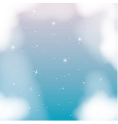nightly background with cloudy and starry night vector image