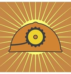 orange mine helmet with a lamp vector image