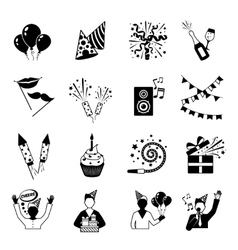 Party Icons Black And White vector
