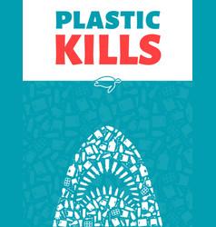 plastic waste ocean environment problem concept vector image