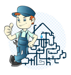 plumber and pipeline vector image