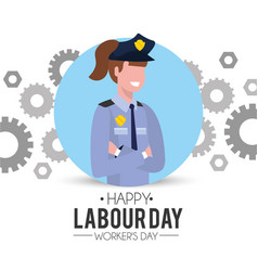 Professional policewoman with gears to labour day vector