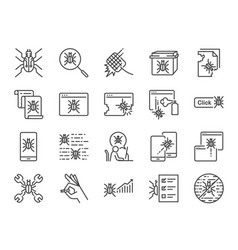 qa and bug fix icon set vector image
