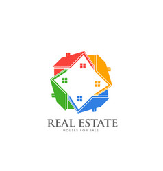 real estate group houses colorful houses in vector image